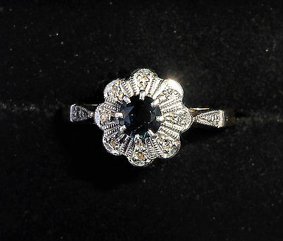 Antique Art Deco 18ct Gold, Platinum, Sapphire & Diamond Star Ring, Size O