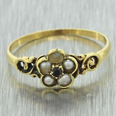 1880s Antique Victorian Estate Women's 14k Solid Yellow Gold Pearl Filigree Ring