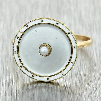 1920s Antique Art Deco Estate 14k Solid Yellow Gold Pearl White Enamel Ring