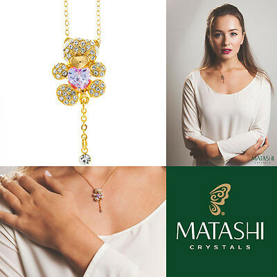 """16"""" Champagne Gold Plated Necklace w/ Teddy Bear & Pruple Crystals by Matashi"""