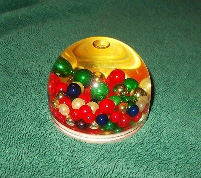 Lucite Plastic Paperweight with Beads Filled with Oil Red Green Gold  Blue