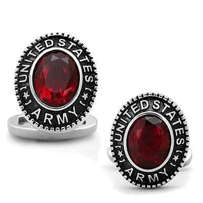 US Army Red Stone Military Stainless Steel Cufflink a Pair
