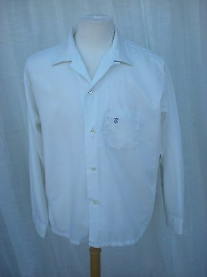 Vintage 60's Towncraft White Cotton Loop Collar Casual Dress Shirt Men's Large L