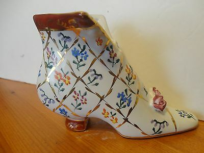 Formalities by Baum Bros Decorative Porcelain Shoe GOLD TRIMMING & FLORAL