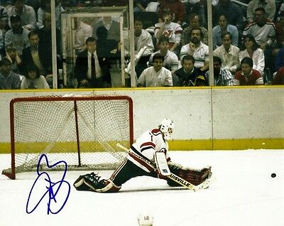 VINTAGE SEAN BURKE SIGNED NEW JERSEY DEVILS GOALIE 8x10 PHOTO #1 Autograph