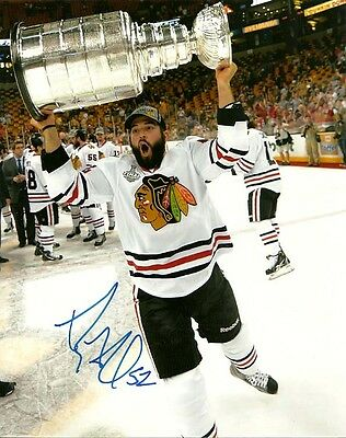 BRANDON BOLLIG SIGNED CHICAGO BLACKHAWKS STANLEY CUP 8x10 PHOTO! Autograph