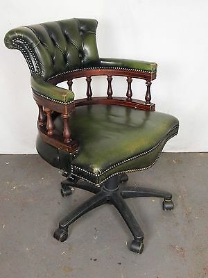 An Antique Style Green Leather Button Office Captains Chair ~Can Deliver~