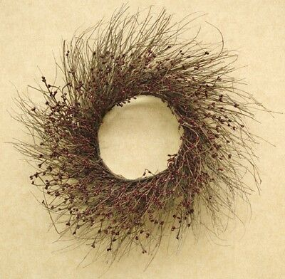 Wreath Primitive Country Burgundy 22 Inch Pip Berry & Twig