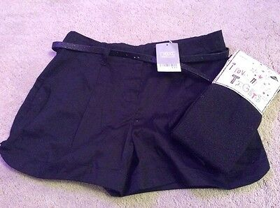 Girls Shorts Next Black Party With Belt And Black Glitter Tights Bnwt 11 Years