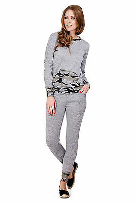 Womens Tracksuits Camouflage Loungesuit Army Camo Leisure Suit Grey Size 8-10