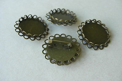 10 & 20 BRONZE TONE ROUND DOUBLE EDGE CABOCHON FRAME SETTING BROOCHES Fit 25mm