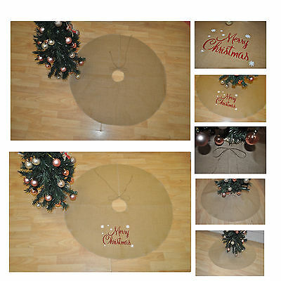Delux Large Jute Christmas Treeskirt Cover Christmas Tree Skirt Xmas Tree Cover
