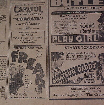 1932 FREAKS Promotional Ad TOD BROWNING Scarce!