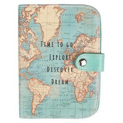 Vintage Time To Go World Map Uk Passport Cover Holder Travel Holiday Gift