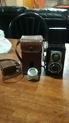 Vintage Ciro-Flex Camera Wollensak 85mm f/3.5  Lens with Leather Case