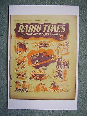 Postcard Vtg Radio Times cover 4 June 1937 BBC Van Outside broadcast Ship launch