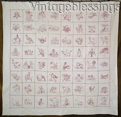 Lovely! ANTIQUE Embroidered Animals RedWork QUILT 64 Pictures