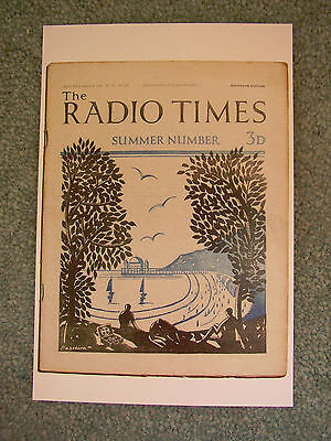 NEW Postcard Vtg Radio Times Magazine Cover August 1928 Summer ill Hagedorn Pier