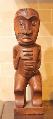 hand carved solid wood Tiki Teko maori carving with paua shell eyes 34.5cm tall