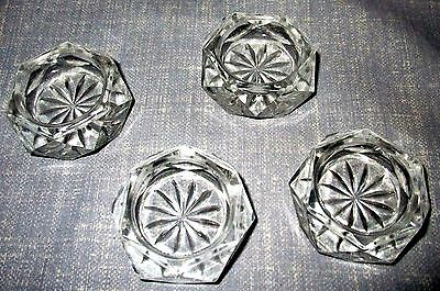 4 Small Pressed Glass Open Salt Cellar/dip