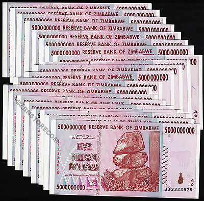 5 Billion Zimbabwe Dollars x 20 Banknotes AA 2008 XF/About UNC *Pre 100 Trillion
