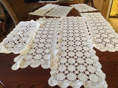 Vintage Style Chrochet Large Table Runners X7 Lot 3