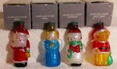 Avon Blown Glass Light Covers Christmas Tree Ornaments Lot of 4 Vintage