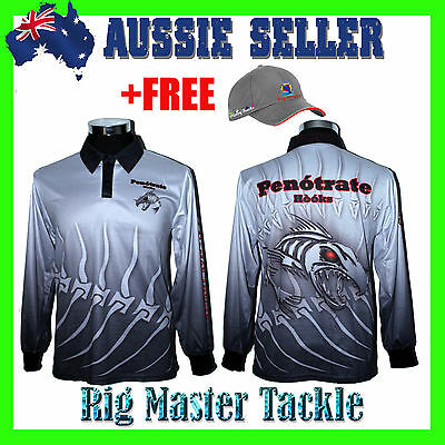 +FREE RMT CAP with Long Sleeve Fish Skeleton Fishing Polo Tournament Shirt S-7XL