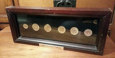 FRAMED New York City NYC Subway Tokens Full Set of Six...MTA Officially Licensed
