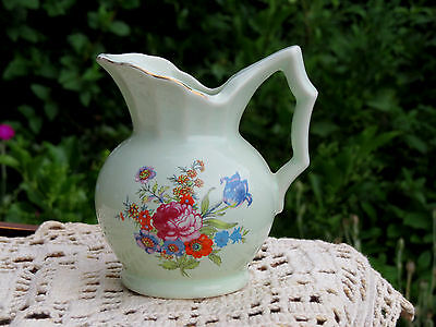 Antique PORCELAIN PITCHER GERMANY Flowers HAND PAINTED ACCENTS Estate VICTORIAN
