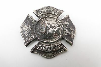 Vintage Reading Pa  Fire Dept Badge Found In Fire Obsolete