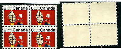 MNH Canada 1970 Untagged 6c Christmas Center Block of 4  #525i (Lot #12346)