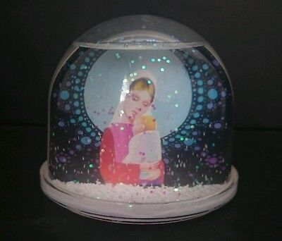 Christmas SNOW DOME /Snowglobe Picture can be changed White & silver snow VGC