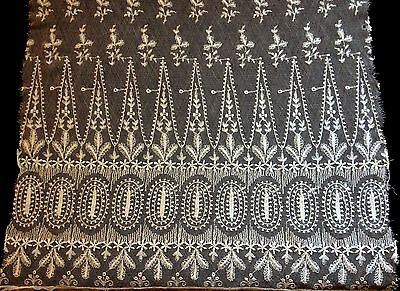 """Exceptional Tambour Lace Panel Embroidery on Veil Geometrical Pattern, 38"""" x 16"""""""