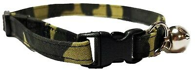 Camo Kitten or Cat Collar army camouflage military Adjustable Fabric with bell