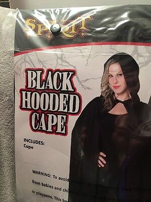 Spirit Halloween Black Hooded Cape Adult One Size Costume Cosplay Witchcraft