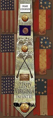 New 22nd Virginia Infantry poly satin neck tie