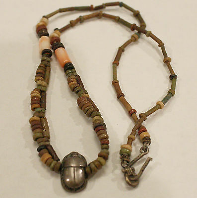 Antique Egyptian sterling 925 scarab amulet necklace ancient mummy beads coral
