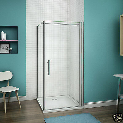 Aica Walk In Pivot Shower Enclosure and Stone Tray 6mm Glass Cubicle Door Panel