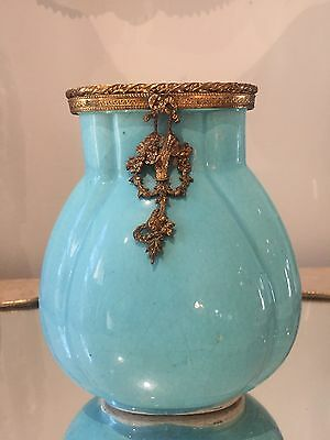 Vintage Antique FRENCH POTTERY VASE Gold gilt bronze Dore basket flower wreath