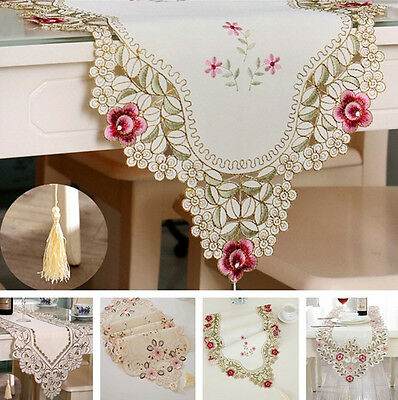 New Table Runner Embroidered Floral Lace Fabric Translucent Gauze Table Cloth