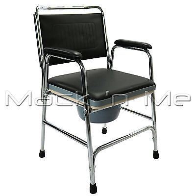 Commode Chair Discreet Bedroom Bedside Toilet  Padded Cover Portable Seat