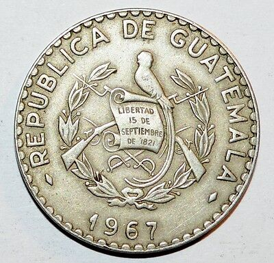 1967 GUATEMALA 25 centavos foreign coins world large FINE COLLECTIBLE