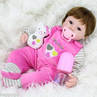 """16""""-New-Handmade-Newborn-Baby-Vinyl-Silicone-Realistic-Reborn-Girl-Doll-With-Toy"""