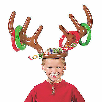 Inflatable Christmas Reindeer Antler Ring Toss Quoits Garden Party Game Toy