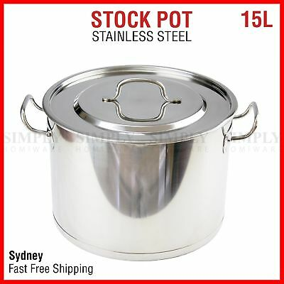 15L Stainless Steel Stock Pot Set Stockpot Lids Cooking Kitchen Cookware Metal