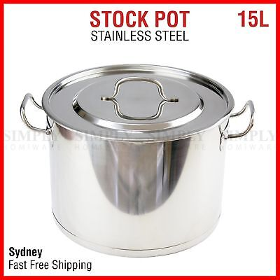 15L Stainless Steel Stock Pot Set Stockpot Lids Cooking Kitchen Cookware