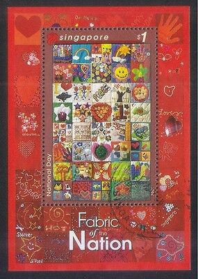 Singapore 2005 National Day Fabric Of Nation Souvenir Sheet Of 1 Stamp Used