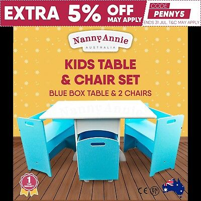 Kids Table and Chair Set Blue Box Table & 2 Chairs Toddler Chidren Furniture