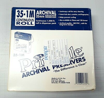Print File 35-1M ARCHIVAL 35mm NEGATIVE Film PRESERVERS CONTINUOUS  Roll